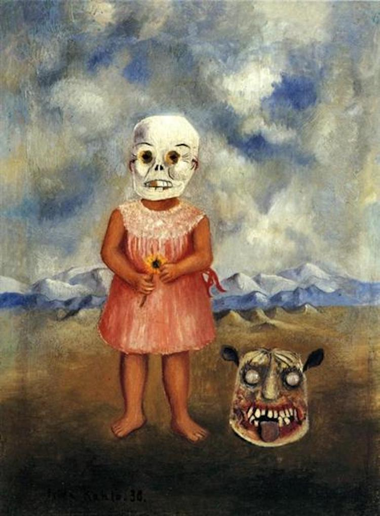Scary Art Scary Paintings Frida Kahlo Girl with Death Mask