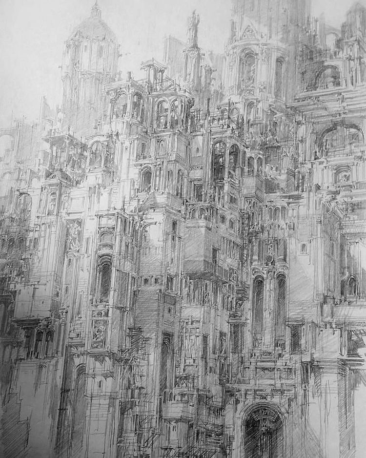 Sci-fi Art Pen Drawings by Jae Cheol Park