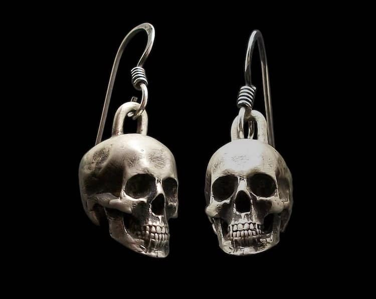 Sterling Silver Skull Earrings