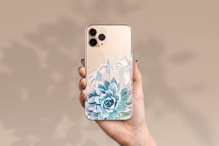 Coque téléphone motif succulente