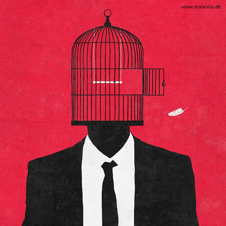 Illustration minimaliste qui suscite la réflexion par Sergio Ingravalle