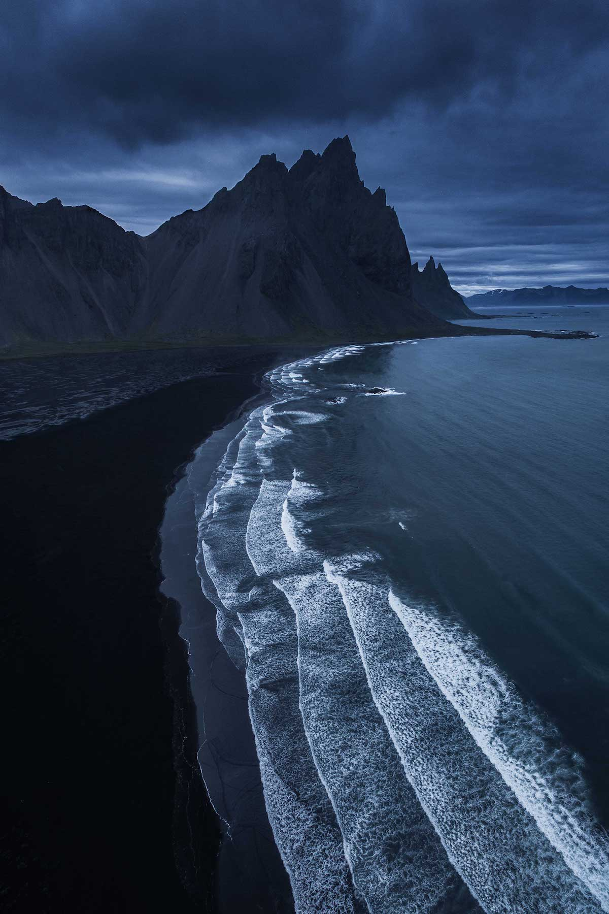 Black sand beach at Vesturhorn Mountain, Iceland
