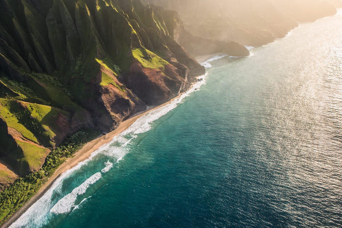 Na Pali Coast on Kauai, Hawaii by helicopter