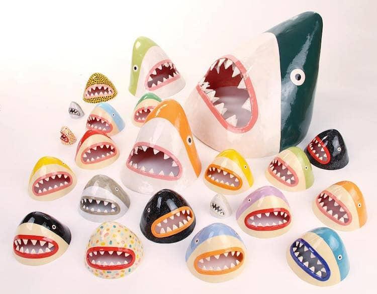 Ceramic Sharks by Lorien Stern