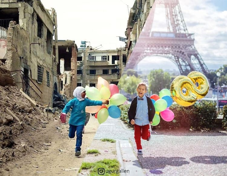 Digital Collage Syrian War Contrasting Photos by Uğur Gallenkuş