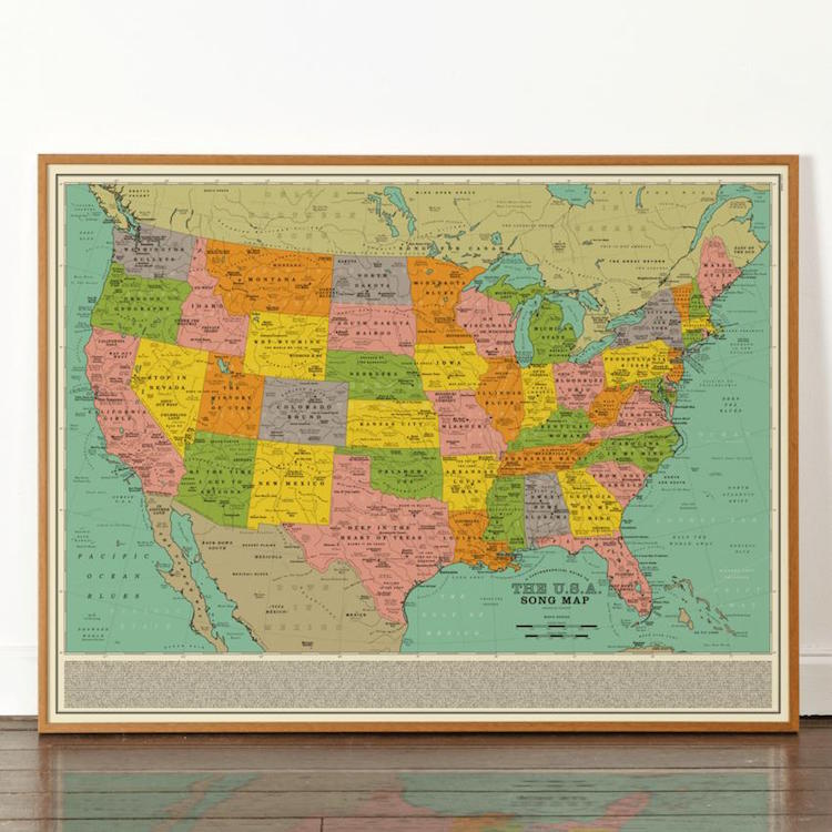 Famous Songs a Map of the United States by Dorothy