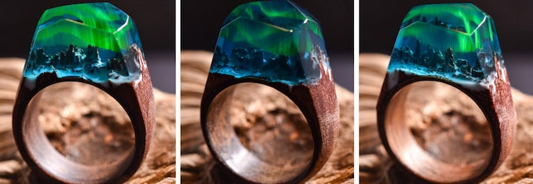 Secret Wood Northern Lights Ring Aurora Borealis Ring