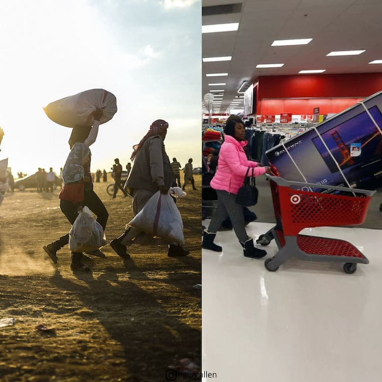 On the left, refugees flee a war-torn region while on the right a woman races to the checkout in Target with her Black Friday bargain big screen television.