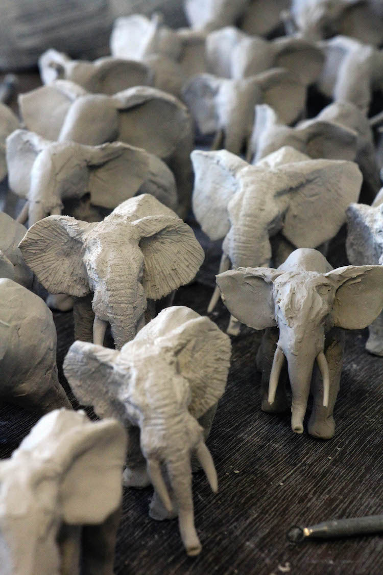 100 Clay African Elephants by Charlotte Mary Pack