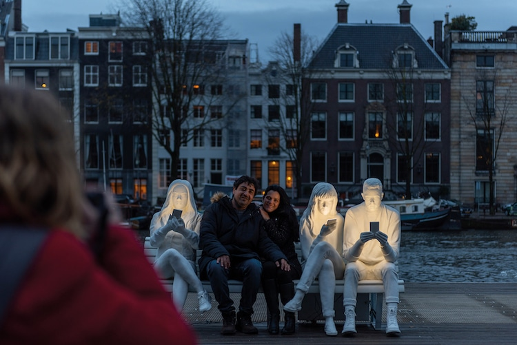Cell Phone Obsession Sculpture by Design Bridge for Amsterdam Light Festival
