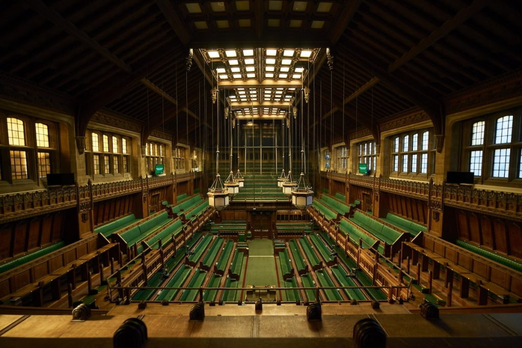 Interior of the House of Commons Chamber at Westminster Palace