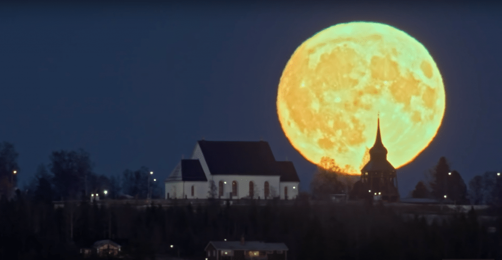 Full Moon in Front of Church by Göran Strand