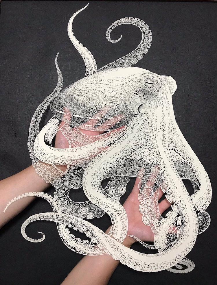 Kirie Paper Cutting Art Octopus by Masayo Fukuda