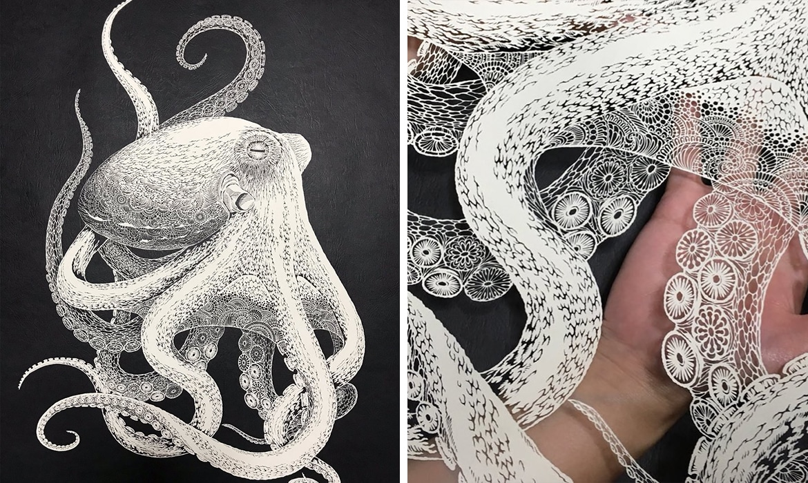 kirie artist hand cuts intricately detailed octopus out of paper