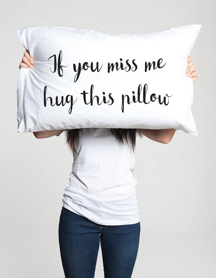 Long Distance Love Pillow. Romantic Gifts for Couples