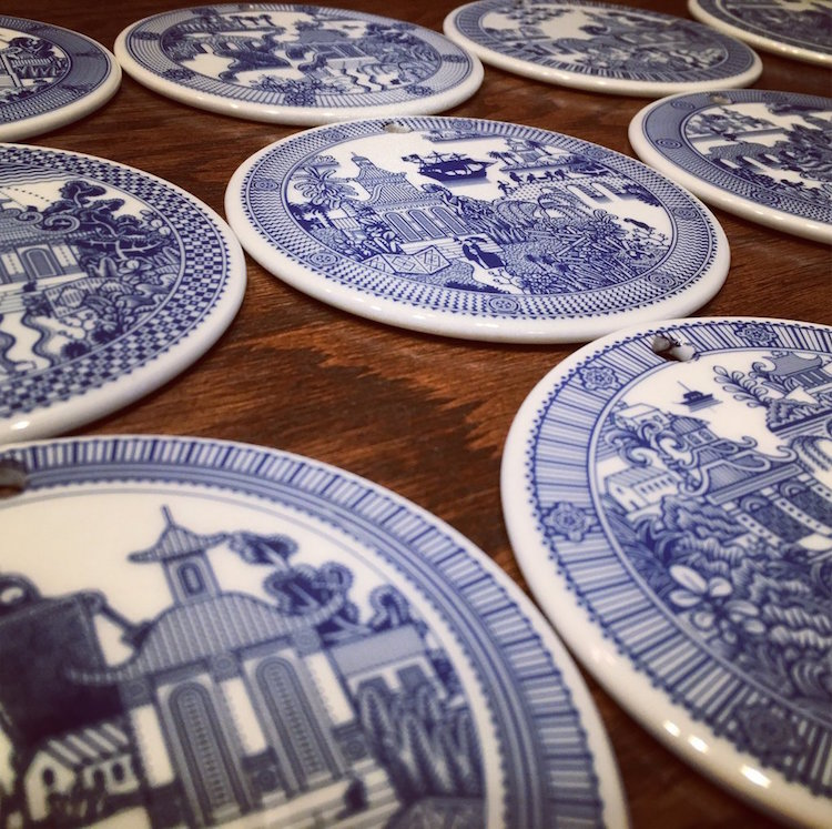 Porcelain Plates Calamityware by Don Moyer