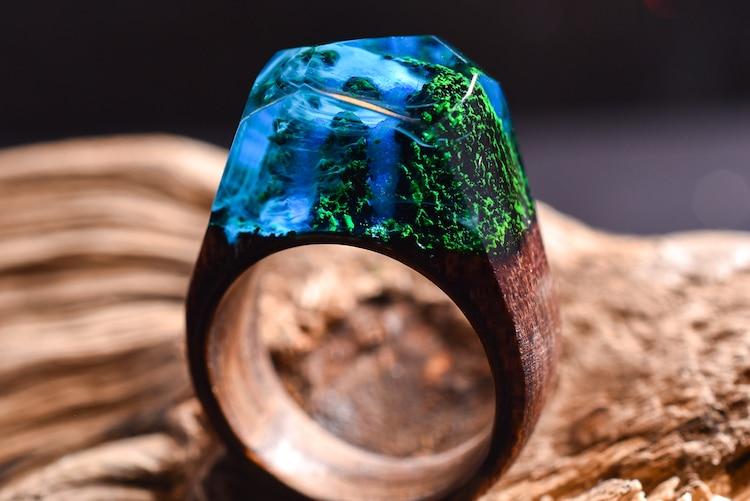 Anillo de cascada anillo de madera y resina Secret Wood