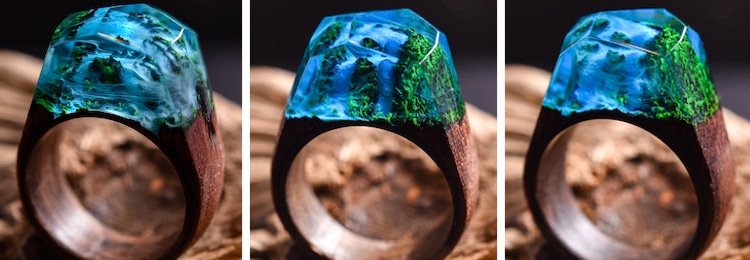 Waterfall Ring Wood and Resin Ring Secret Wood
