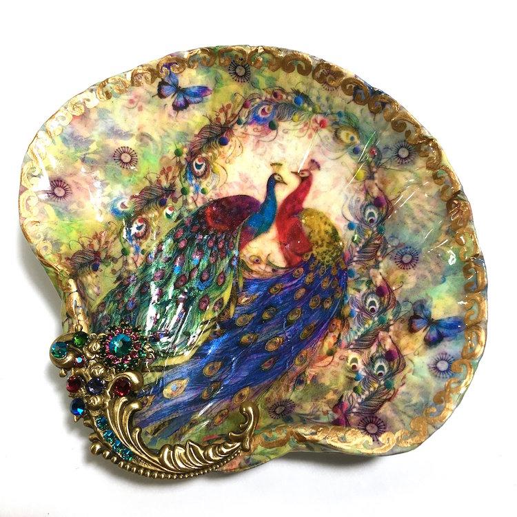 platitos decorativos vintage arte en conchas marinas por Mary Kenyon