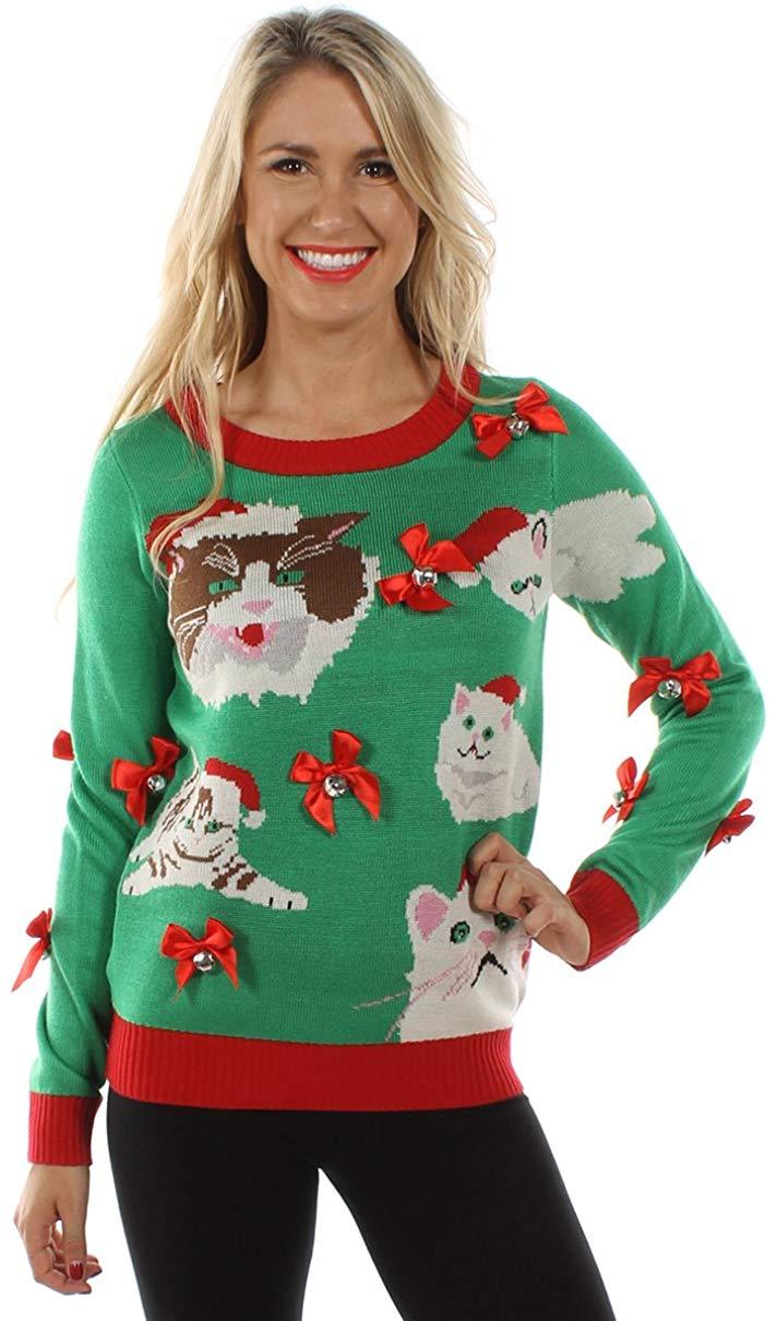 Ugly Christmas Sweater de señora loca de los gatos