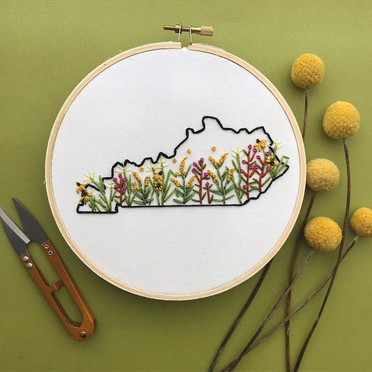 US States Embroidery Hoops by Celeste Johnston Lemon Made Shop