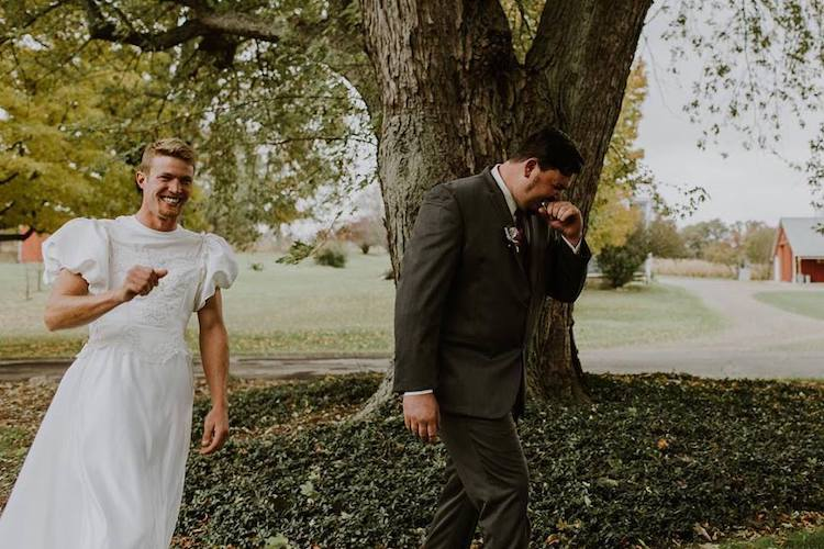 Funny Wedding Day Prank for First Look Photos