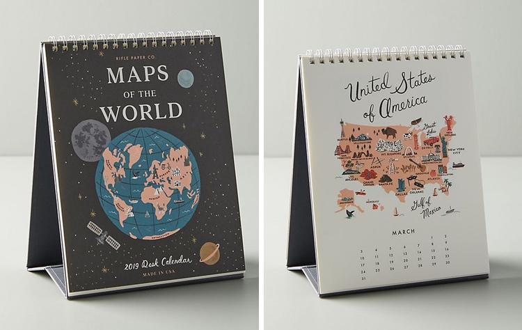 World Maps 2019 Calendar