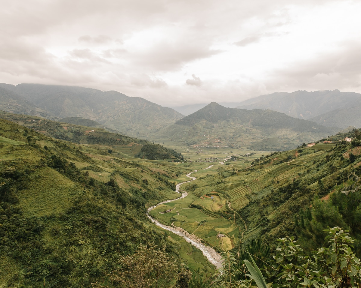 River line through Mu Cang Chai in Yen Bai province, Vietnam