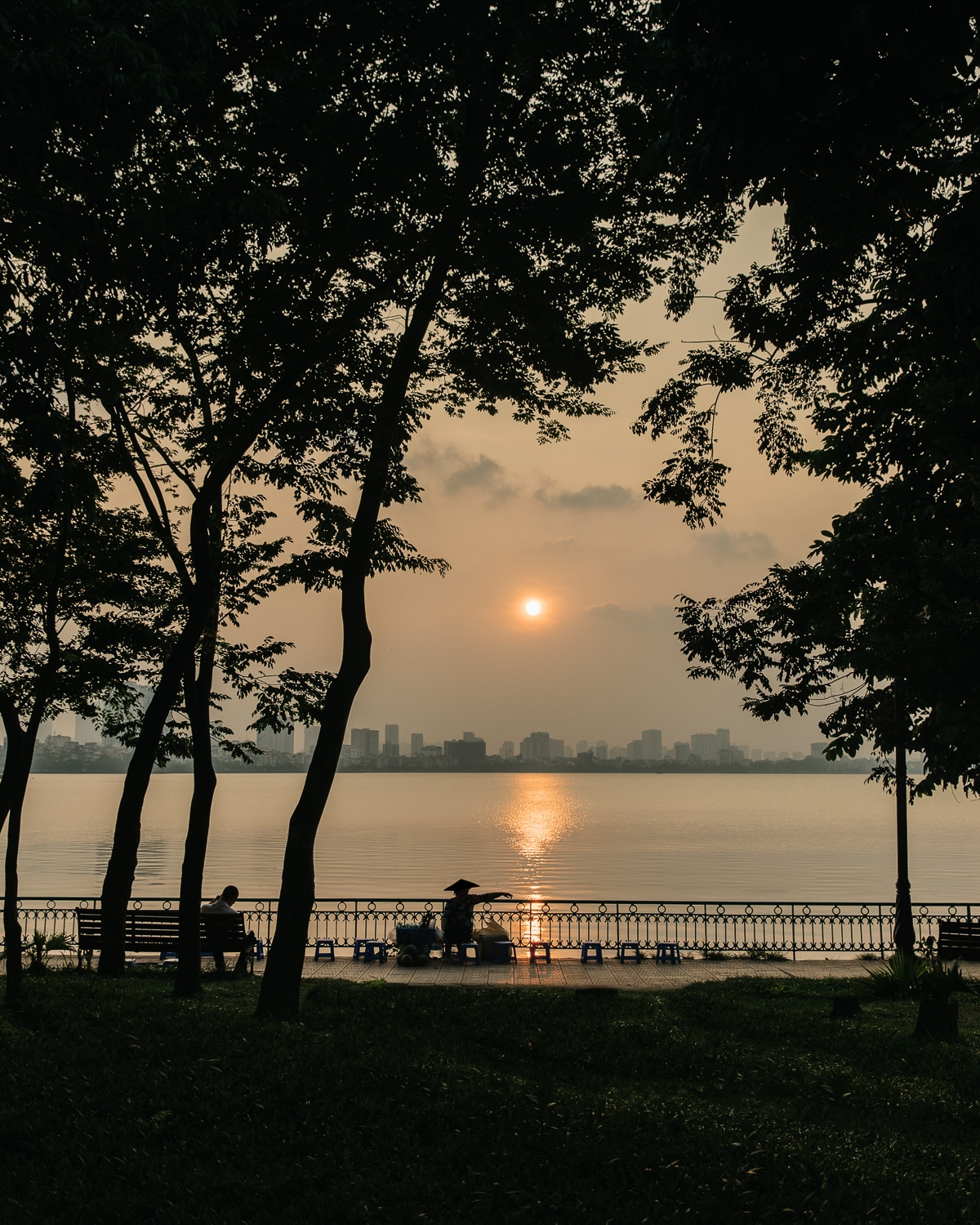 Sunset at the West Lake, Hanoi's largest freshwater lake.