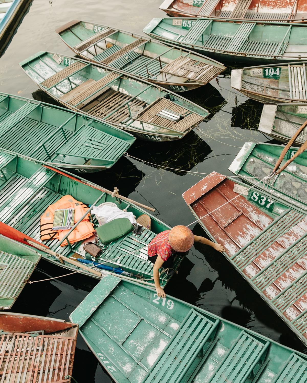 Tam Coc harbour, abundant with sampan boats
