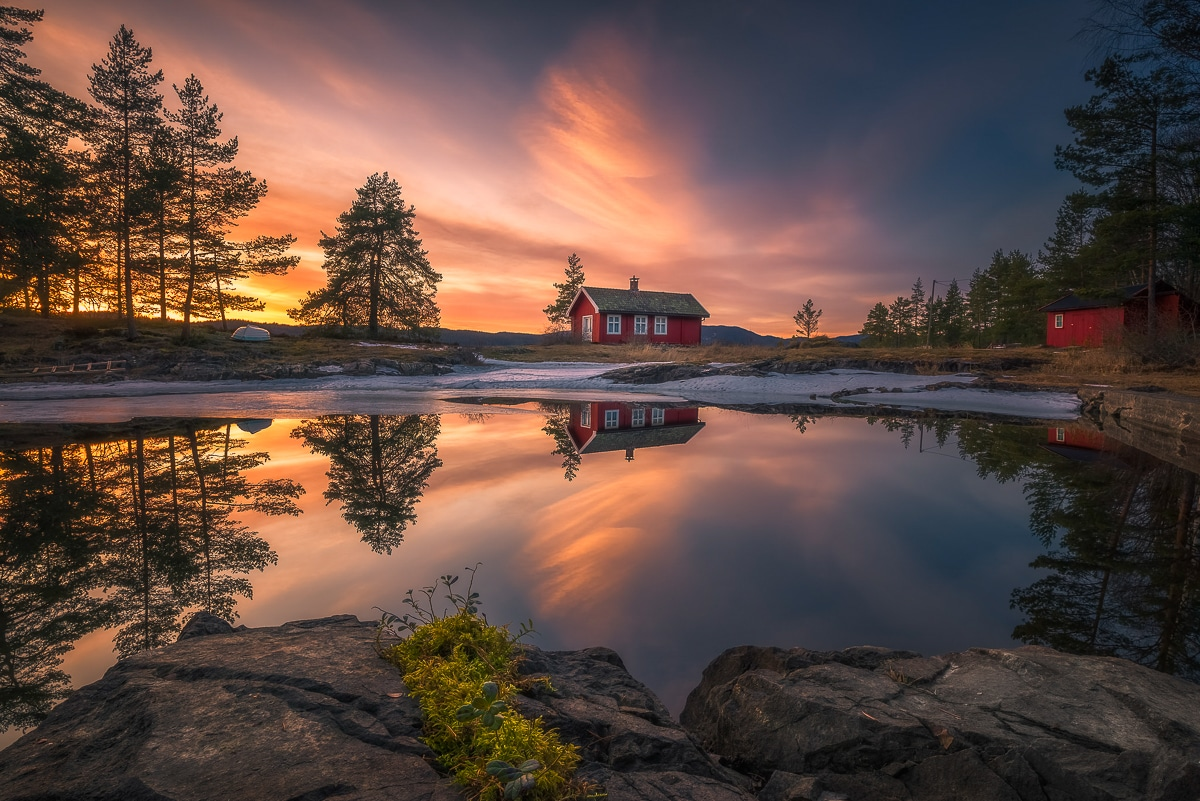 Ongoing Photo Series of Red Cabin by Red Cabin Photo by Ole Henrik Skjelstad