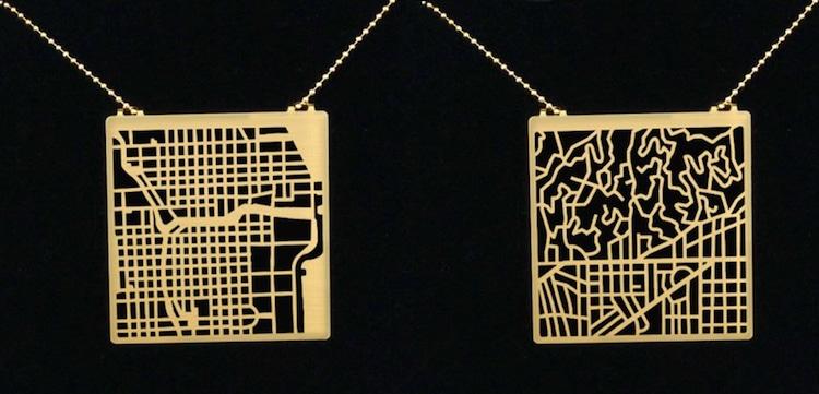 Collar Abstracto de Mapas de Ciudades Talia Sari