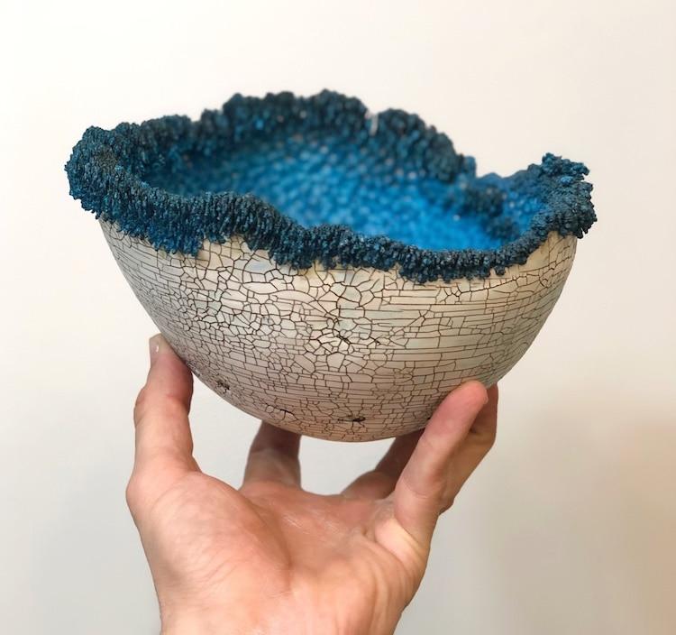 Sabri Ben-Achour Sabitree Ceramics Electroformed Bowl Electroforming Crystals Coral Bowl