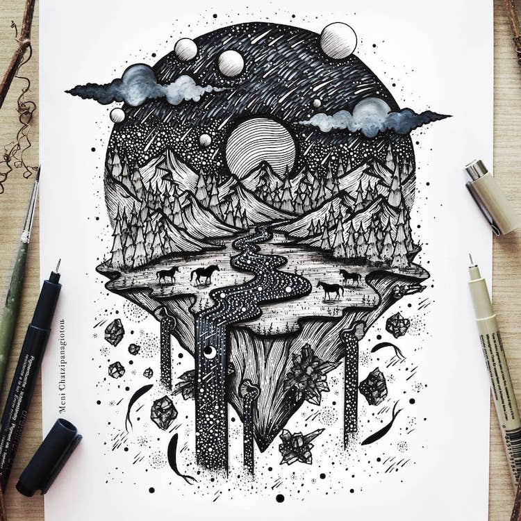Ink Drawings by Meni Chatzipanagiotou