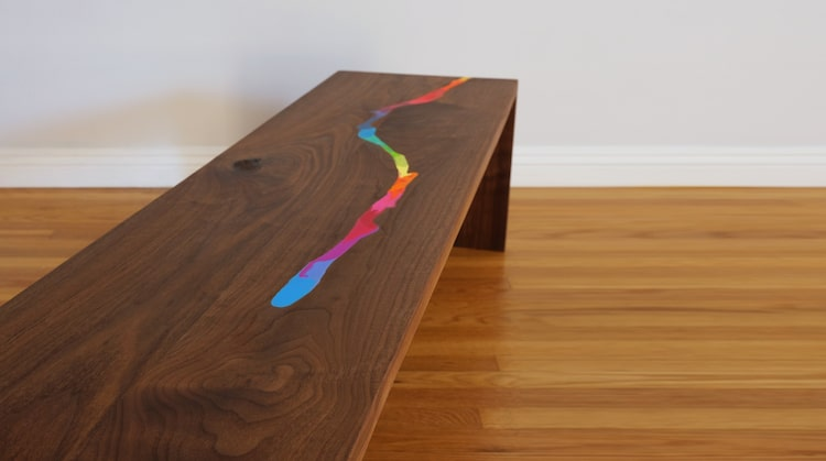 Modern Inlaid Table has a River of Melted Crayons Flowing
