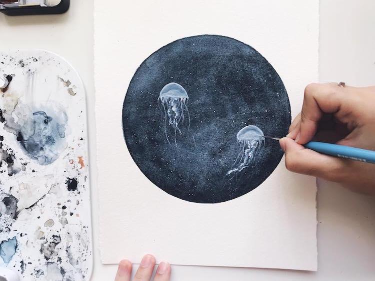Solar System Watercolor Paintings by Amanda C. Marino