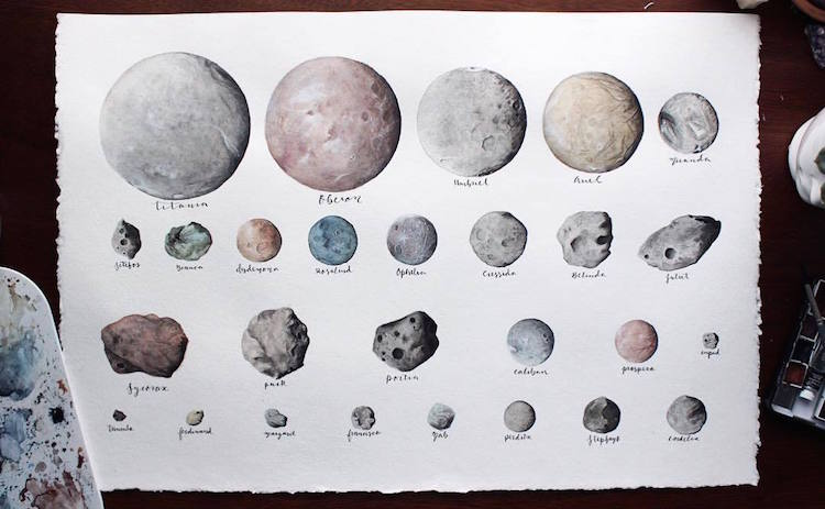 Solar System Watercolor Paintings by Amanda C. Marino