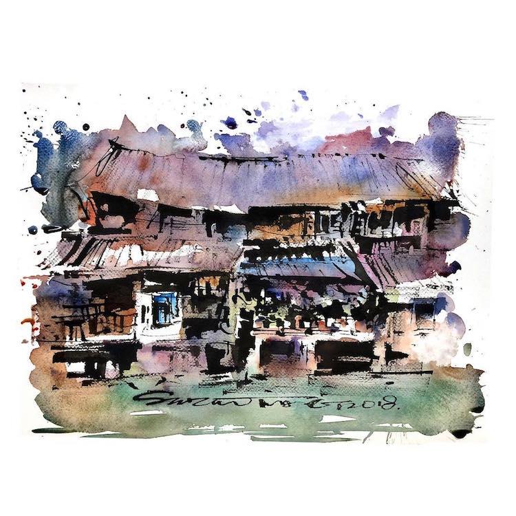 Watercolor Sketch Paintings by Zhifang Shi
