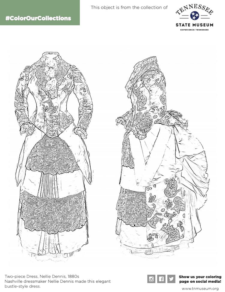 dibujos para colorear gratis vestido antiguo