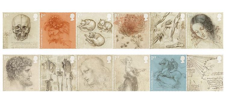 Royal Mail Leonardo da Vinci Stamps Leonardo Da Vinci Drawings