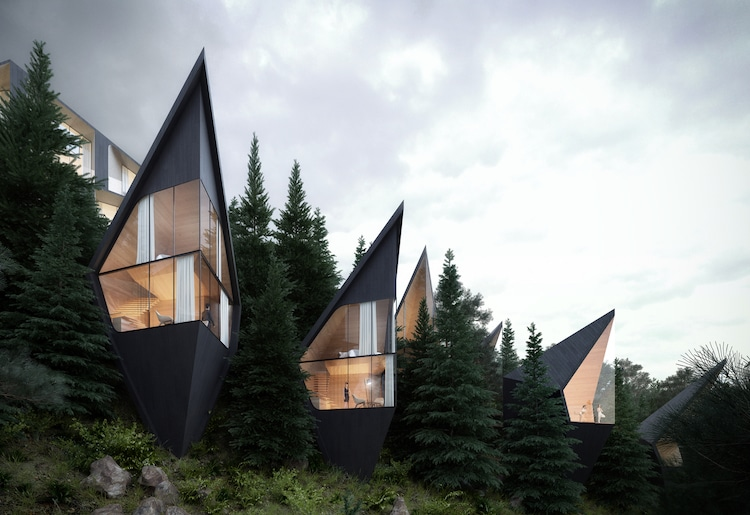 Architect Designs Modern Prism Shaped Treehouses Nestled In The Forest