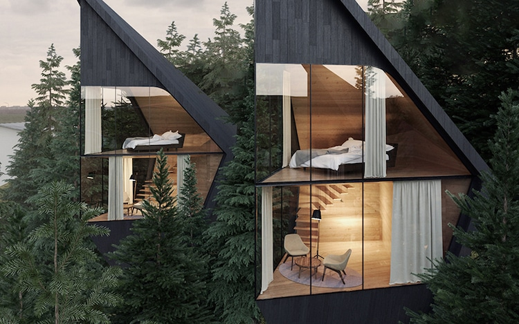 Case sull'albero a forma di prisma di Peter Pichler Architecture