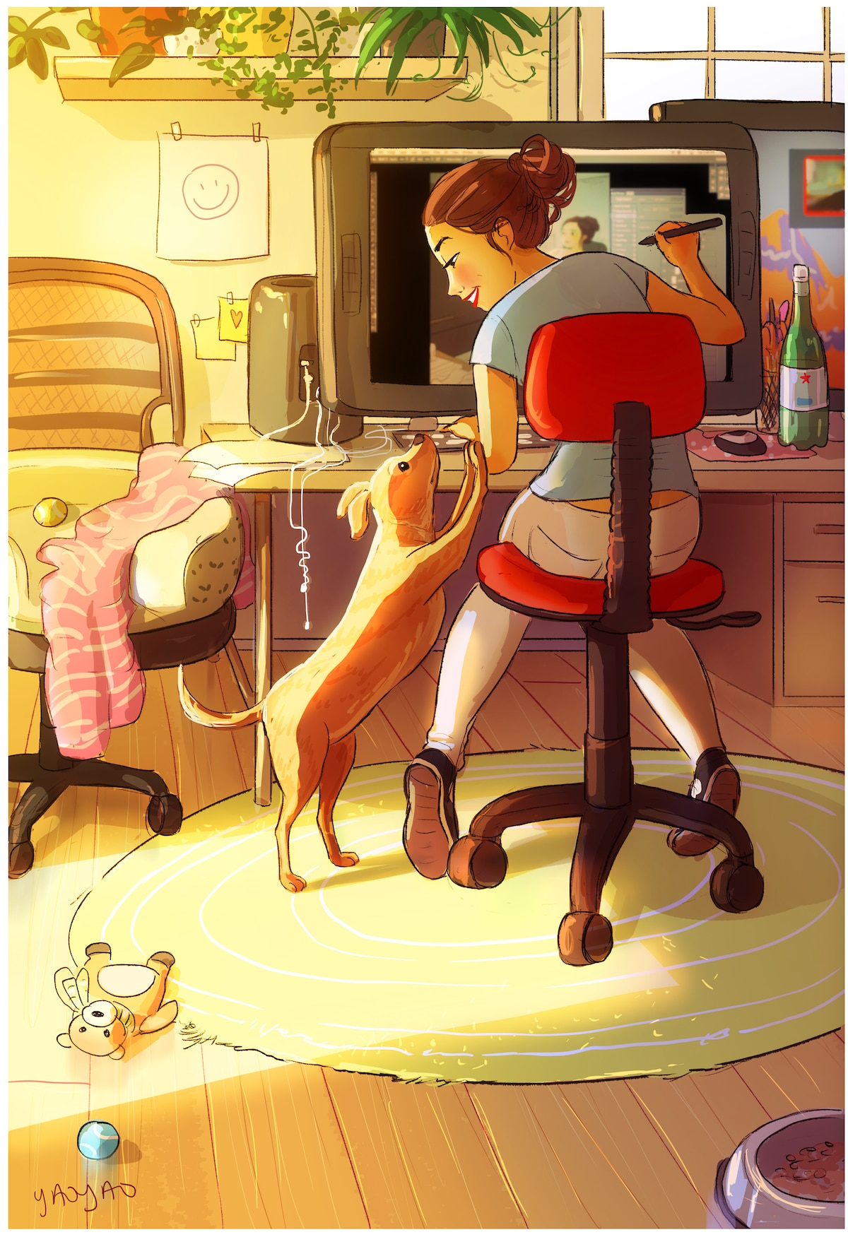Dog Owner Illustrations by Yaoyao Ma Van As