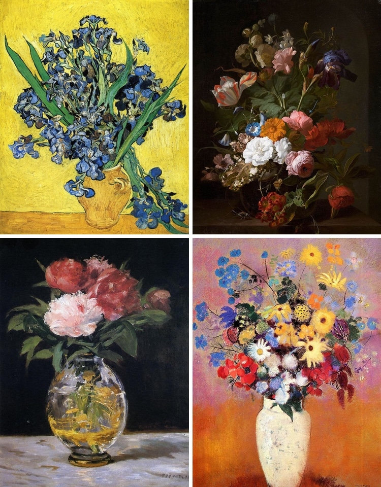 12 Famous Flower Paintings that Make the Canvas Bloom & 12 Famous Flower Paintings from Monet to Mondrian