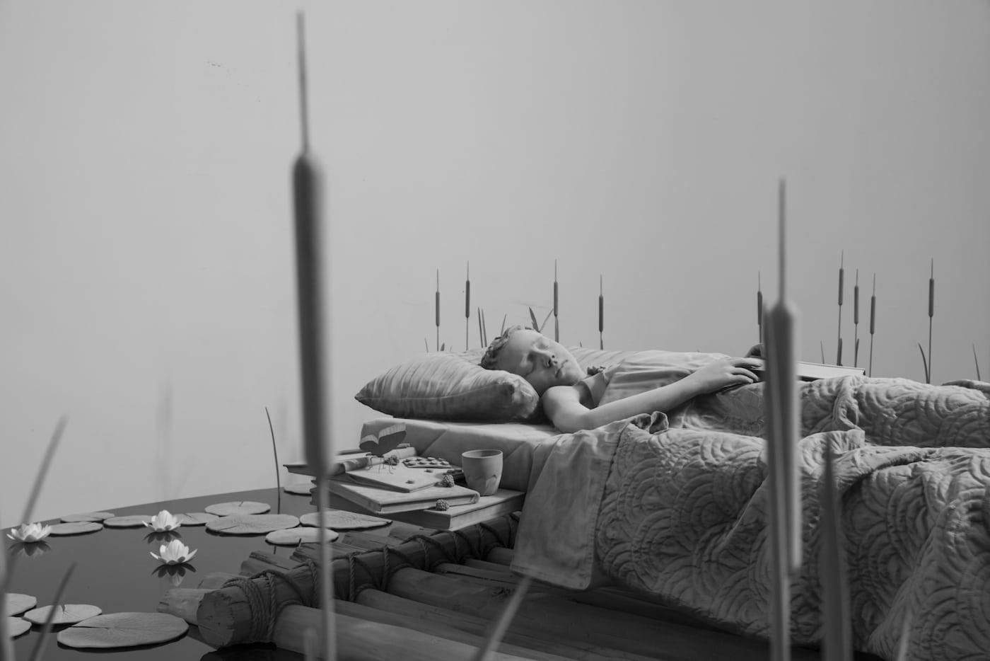Hans Op de Beeck Monochrome Sculpture My Bed a Raft