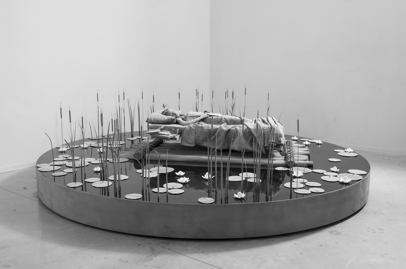 Hans Op de Beeck Monochrome Sculpture My Bed a Raft