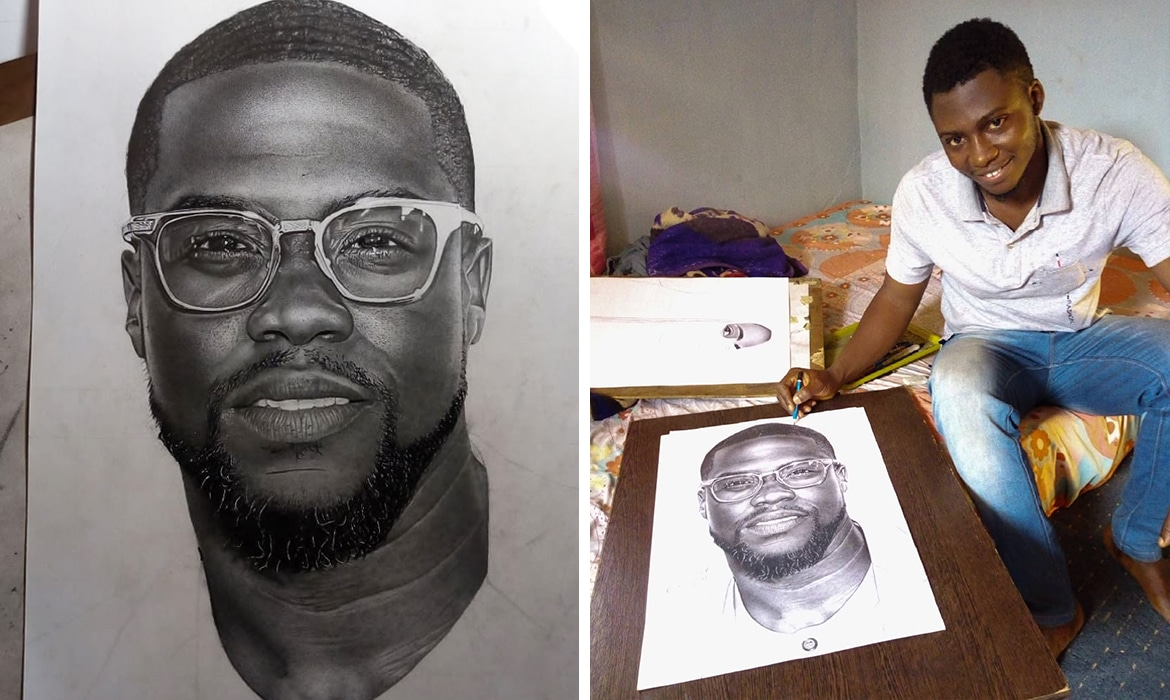 Nigerian artist goes viral for his incredible pencil drawing of kevin hart