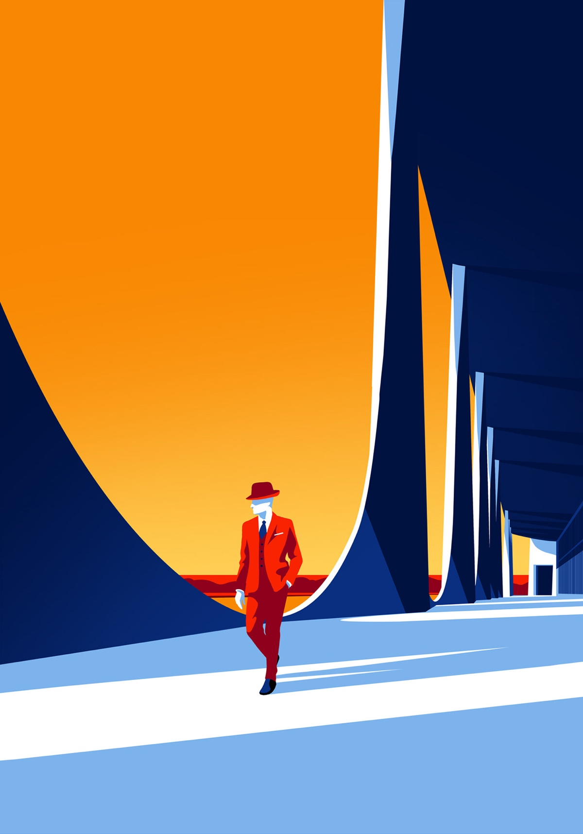Minimal Illustrations of Oscar Niemeyer Architecture