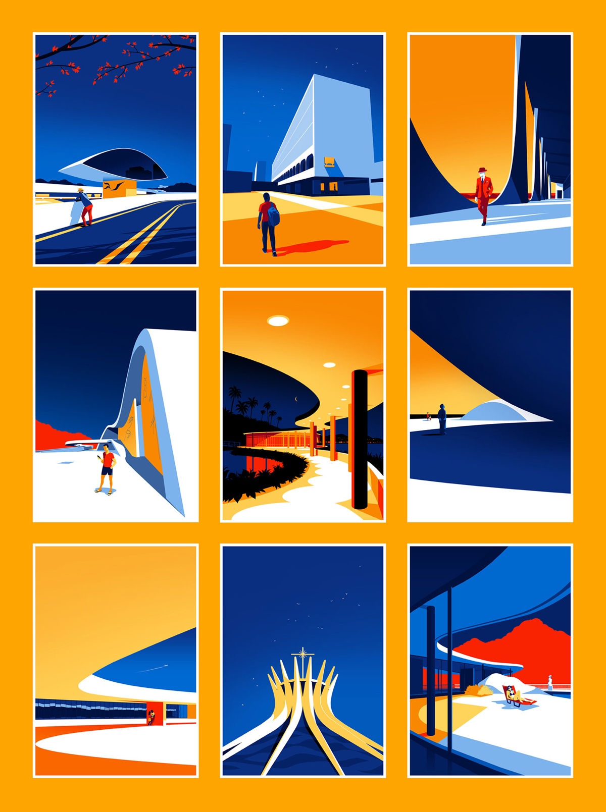 Oscar Niemeyer Modernist Architecture Illustration by Levente Szabo