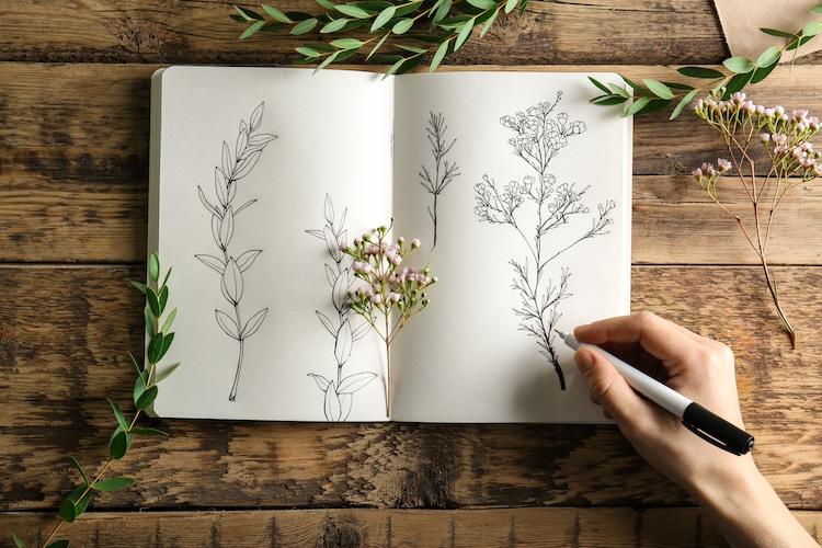 Ilustración en un cuaderno de dibujo